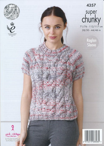 Cabled Raglan Sweater with Long and Short Sleeves in King Cole Gypsy Super Chunky (4357)-Deramores