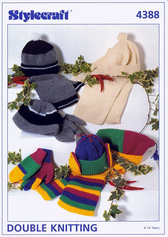 Scarves and Gloves in DK and Chunky King Cole 3296 Knitting Pattern Mens Hats
