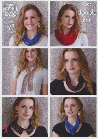 Necklaces, Snoods, Collar and Scarf in King Cole Smooth DK and Cosmos (4392)