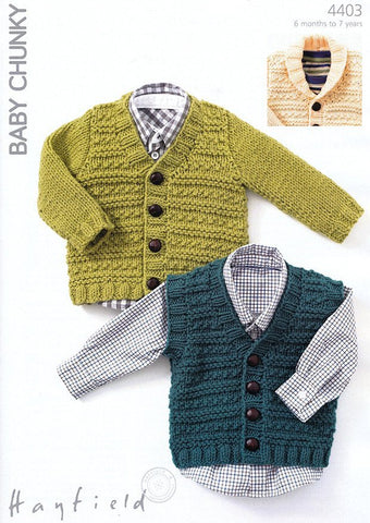 Waistcoat and Cardigans in Hayfield Baby Chunky (4403)