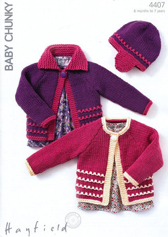 Cardigans and Hat in Hayfield Baby Chunky (4407)-Deramores