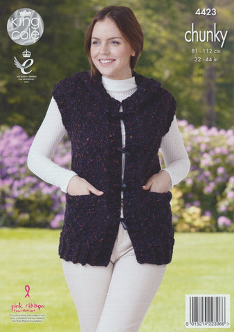 Jacket and Gilet in King Cole Chunky Tweed (4423)-Deramores
