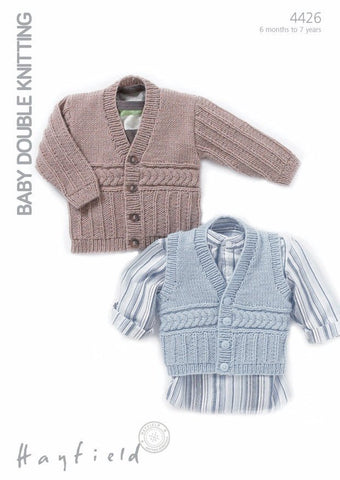 Boys V Neck Cardigan and Waistcoat In Hayfield Baby DK (4426)-Deramores