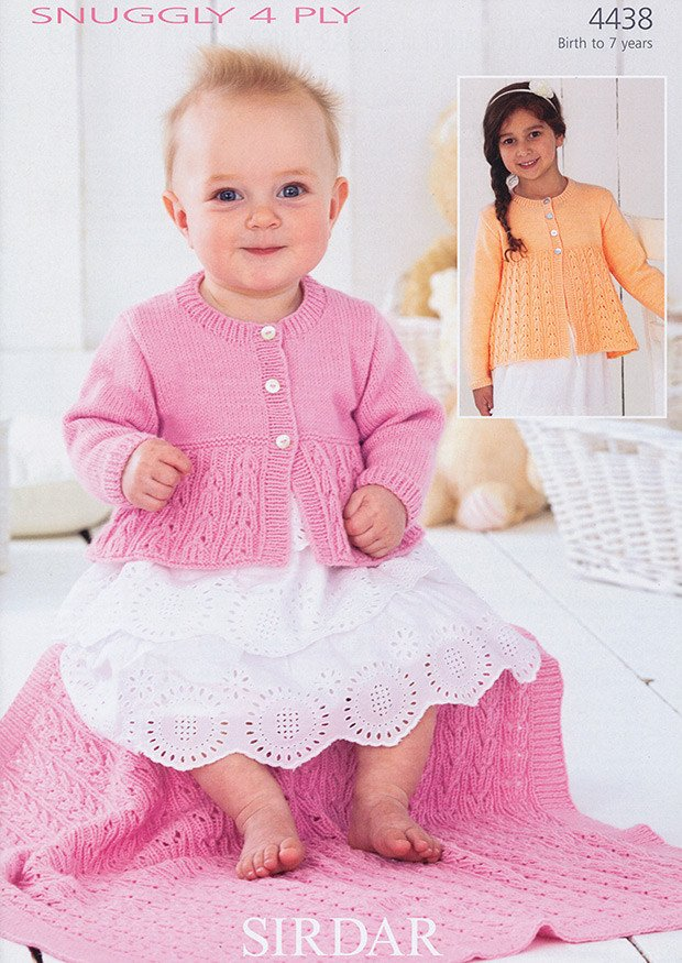 Sirdar 4 Ply Baby Knitting Patterns : Cardigans and Blanket in Sirdar Snuggly 4 Ply (4438)   Deramores