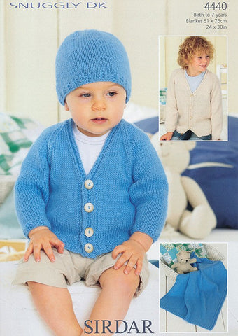 Boy's Cardigan, Hat and Blanet in Sirdar Snuggly DK (4440)-Deramores