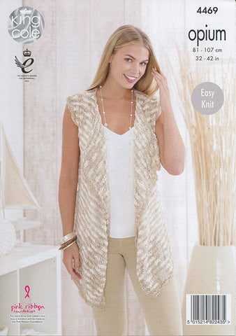 Cardigan and Waistcoat in King Cole Opium and Opium Palette (4469)-Deramores