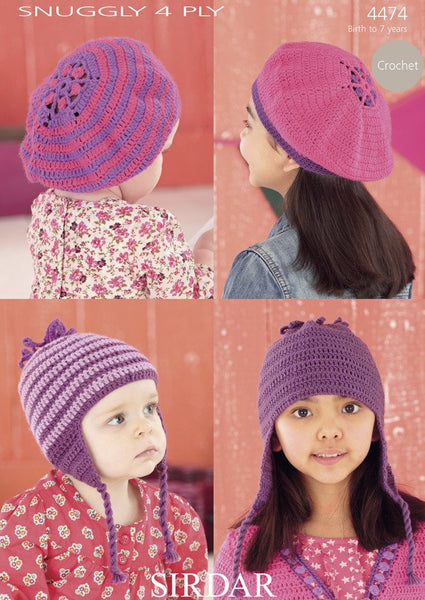 Berets and Crochet Helmets with Daisy Motif in Sirdar Snuggly 4 Ply (4474)