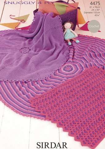 Crochet Blankets in Sirdar Snuggly 4 Ply (4475)-Deramores