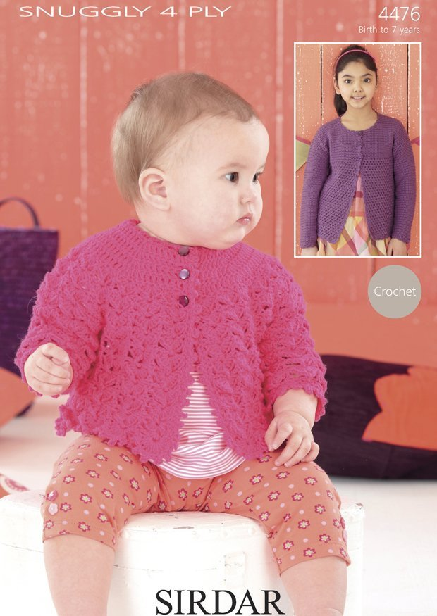 Long Sleeved Coat and Round Neck Cardigan in Sirdar Snuggly 4 Ply (4476)