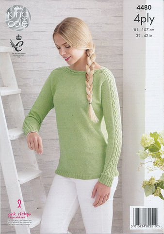 Cardigan and Sweater in King Cole Bamboo Cotton 4 Ply (4480)-Deramores