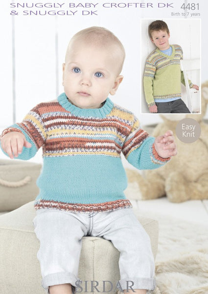 Boys Round Neck and V-Neck Sweaters in Sirdar Snuggly Baby Crofter DK & Snuggly DK (4481)-Deramores