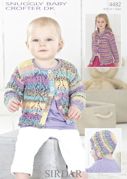 Girls Round Neck Cardigan, Hooded Cardgian and Matching Bonnet in Sirdar Snuggly Baby Crofter DK (4482)-Deramores