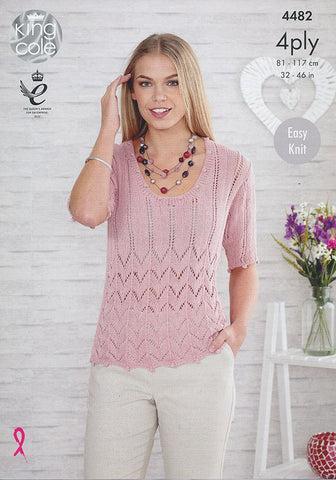 Top and Cardigan in King Cole Bamboo 4 Ply (4482)