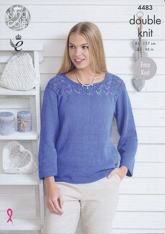 KNITTING PATTERN Ladies Easy Knit V-Neck Lacy Top//Jumper Bamboo DK 4486
