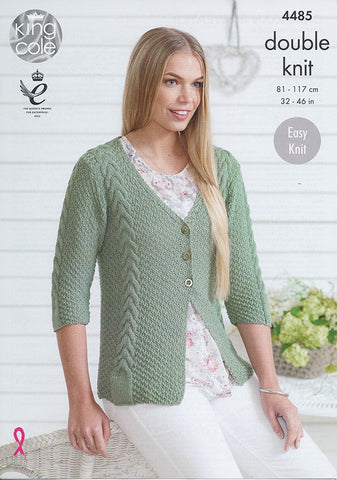 Cardigan and Sweater in King Cole Bamboo Cotton DK (4485)-Deramores
