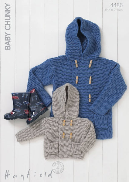 Boys Garter-Stitch Duffle Coat In Hayfield Baby Chunky (4486)-Deramores