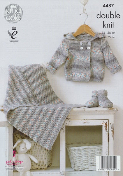 Hooded Jacket, Blanket and Bootees in King Cole Drifter DK for Baby (4487)-Deramores