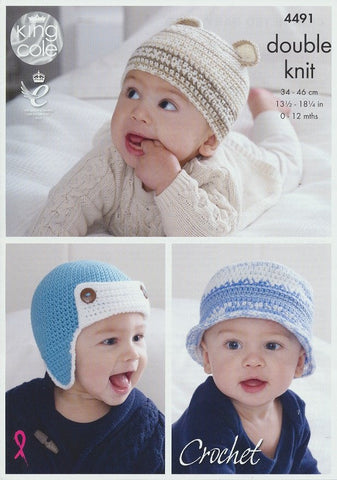 Crocheted Baby Hats in King Cole Cherish and Cherished DK (4491)-Deramores