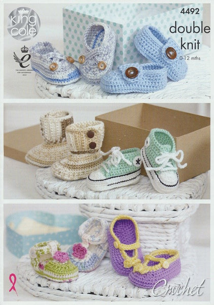 Crocheted Baby Shoes in King Cole Cherish and Cherished Baby DK (4492)-Deramores