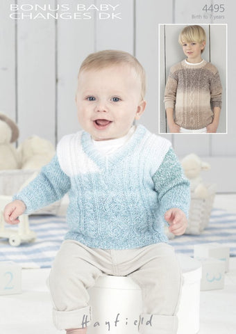 Boys V-Neck and Round Neck Cable Sweaters In Hayfield Bonus Baby Changes DK (4495)-Deramores