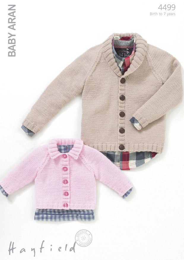 Boys Shawl Collared Cardigan and Girls Flat Collared Cardigan in Hayfield Baby Aran (4499)