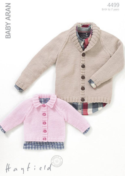 Boys Shawl Collared Cardigan and Girls Flat Collared Cardigan in Hayfield Baby Aran (4499)-Deramores