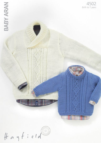 Boys Round Neck and Wrap Neck Cable Sweaters in Hayfield Baby Aran (4502)-Deramores