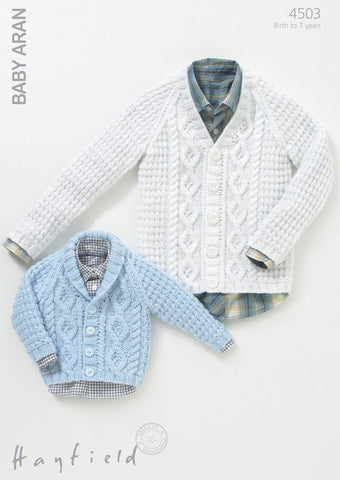 Boys V-Neck Cable and Shawl Collared Cardigans in Hayfield Baby Aran (4503)-Deramores