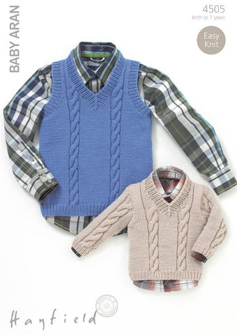 Boys V-Neck Cable Top and Sweater in Hayfield Baby Aran (4505)-Deramores