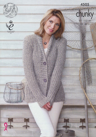 Knitting Pattern For Chunky Ladies Cardigan : Buy King Cole Knitting Patterns Online   Deramores