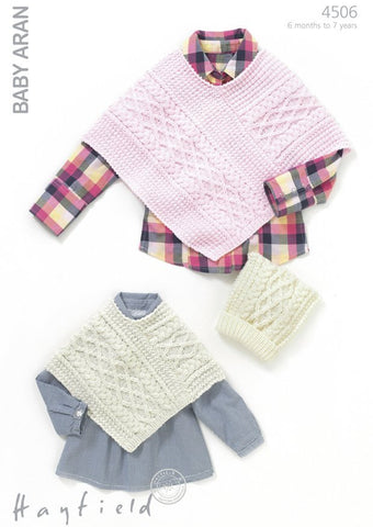 Girls Cable Poncho and Matching T-Bag Hat in Hayfield Baby Aran (4506)-Deramores