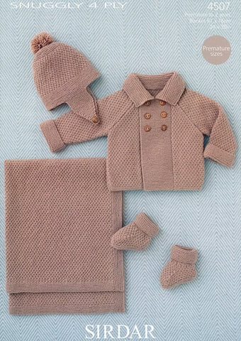 Baby Boy's Coat, Helmet, Booties and Blanket in Sirdar Snuggly 4 ply (4507)-Deramores