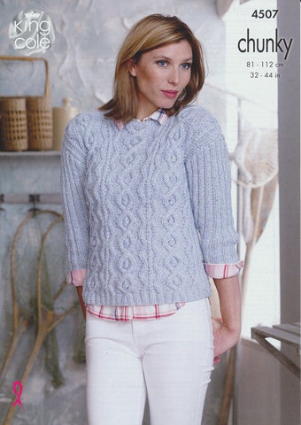 Sweater and Cardigan in King Cole Authentic Chunky (4507)
