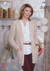 Cardigan and Sweater in King Cole Authentic Chunky (4509)