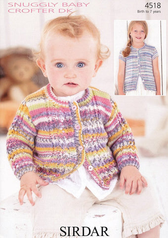 Baby and Girl's Cardigans in Sirdar Snuggly Baby Crofter DK (4518)-Deramores