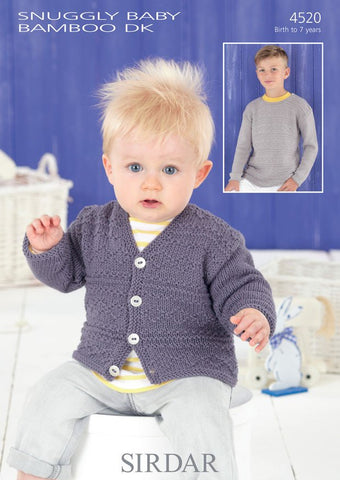 Babies and Boys Sweater and Cardigan in Sirdar Snuggly Baby Bamboo DK (4520) - Digital Version-Deramores