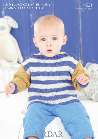 Babies and Boys Slash Neck Sweaters in Sirdar Snuggly Baby Bamboo DK (4521) - Digital Version-Deramores