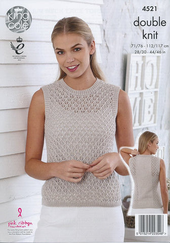 Round and V Neck Lace Tops in King Cole Smooth DK (4521)