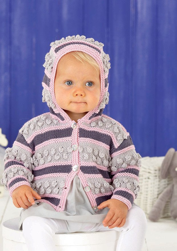 Girls Round Neck and Hooded Cardigans in Sirdar Snuggly Baby Bamboo DK (4522) - Digital Version-Deramores