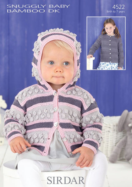 Girls Round Neck and Hooded Cardigans in Sirdar Snuggly Baby Bamboo DK (4522)-Deramores