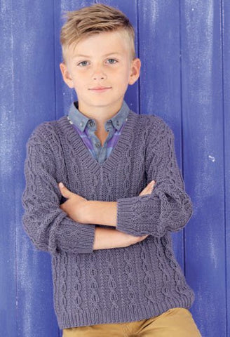ecbc58d3e Boys V Neck Tank and Sweater in Sirdar Snuggly Baby Bamboo DK (4524) -