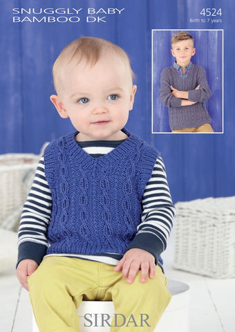 Boys V Neck Tank and Sweater in Sirdar Snuggly Baby Bamboo DK (4524)-Deramores