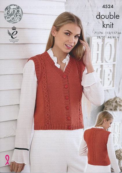 Waistcoat with Cap Sleeves or Armhole Borders in King Cole Smooth DK (4524)