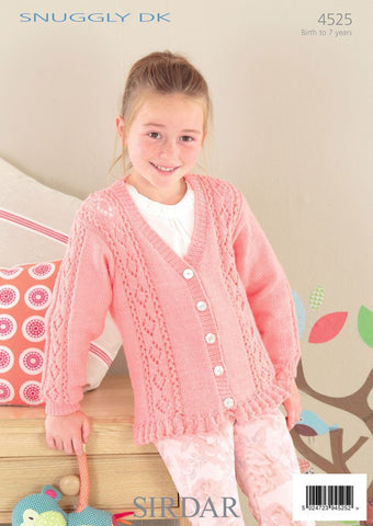 Babies & Girls Round and V Neck Cardigans in Sirdar Snuggly DK (4525) - Digital Version-Deramores
