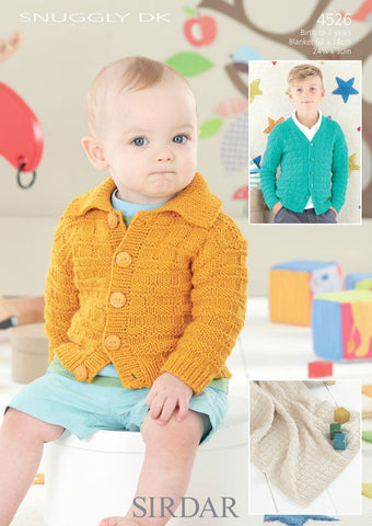 Babies & Boys V Neck and Flat Collared Cardigans and Blanket in Sirdar Snuggly DK (4526)-Deramores