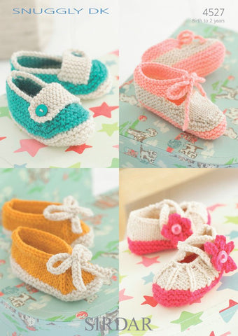 Shoes with Flower, Tab, Bow and Ankle Fastening in Sirdar Snuggly DK (4527)