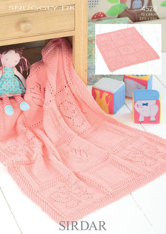 Butterfly and Motif Flower Blanket in Sirdar Snuggly DK (4528)-Deramores