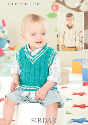 Babies & Boys V Neck Cricket Sweater and Tank in Sirdar Snuggly DK (4529) - Digital Version-Deramores