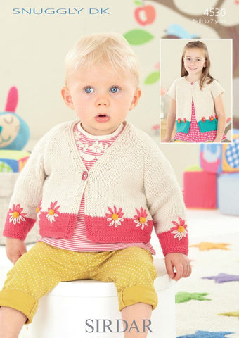Babies & Girls Cardigans in Sirdar Snuggly DK (4530) - Digital Version-Deramores