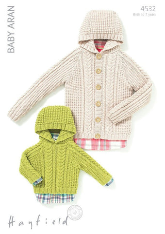Babies & Boys Hooded Jacket and Sweater in Hayfield Baby Aran (4532)-Deramores